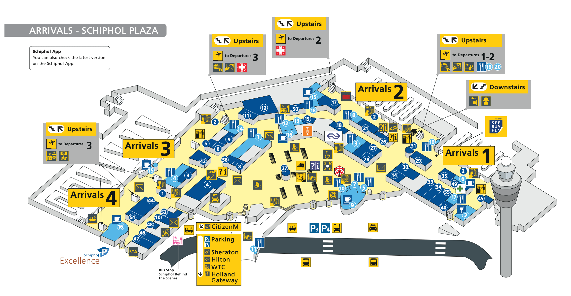 Como ir do aeroporto de Amsterdam para o centro - mapa do Aeroporto Schiphol