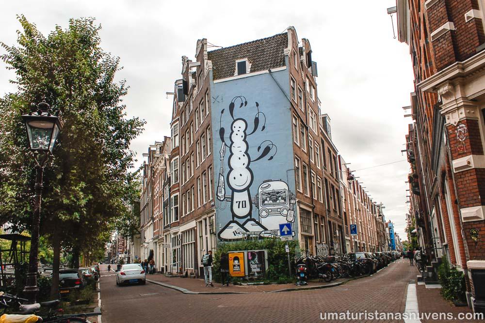 Arte de rua no bairro Jordaan em Amsterdam